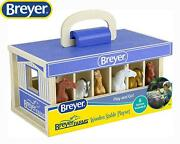 New Breyer Farms Wood Carry Stable W/ Horses Stablemates 132 - 59217