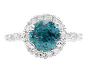 4.75 Carats Natural Blue Zircon And Diamond 14k Solid White Gold Ring