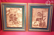 1969 Artini Ivory Wall Hanging Sea Battle Set Of 2 In Old Wood Frame