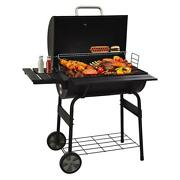 Premium Charcoal Bbq Grill Outdoor Black Stainless Steel W Built-in Thermometer