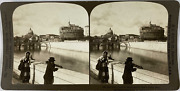 White, Stéréo, Italy, Rome, The Tiber, Castle St Angelo And St Peter S Vintage S