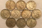Half-roll Of 10 Mixed Dates Xf Peace Silver Dollars. Mdd40