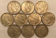 Half-roll Of 10 Mixed Dates Vf Peace Silver Dollars. Mdd43