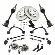 17pc Kit Brake And Pads Rotors Tie Rods Control Arms Axles For Chevy Gmc