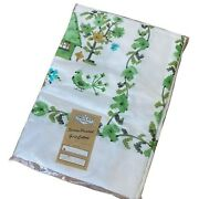 Tablecloth Vintage Green Cottage Broderie Creations Screen Printed Nip 52 X 70