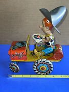 1940s Yipee-i-aaaay Rodeo Joe Tin Lithograph Wind Up Crazy Car Toy Unique Art