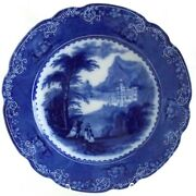 Jenny Lind Flow Blue Charger By Charles Meigh And Sons England C.1850and039s Pretty
