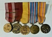Vintage Medals Ribbon,bar,5 Mounted Miniature Ww2,china Us Navy,asiatic,american