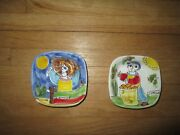 Lot Of 2 La Musa Italian Hand-painted Pottery Small Square Bowls
