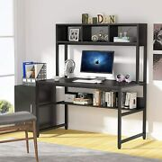 Tribesigns 47 Computer Table Home Office Desk With Storage Shelf - White/black