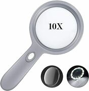 Lighted Magnifying Glass-10x Hand Held Large Reading Magnifying Glasses With 12
