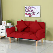 Home Adjustable Lazy Folding Sofa W/foldable Armrests And2 Pillows Andwooden Legs Us