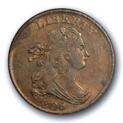 1806 1/2c Small 6, No Stems Draped Bust Half Cent Anacs Au 50 About Uncirculated