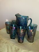 Indiana Carnival Glass Blue Iridescent Harvest Grape Pitcher And 6 Tumblers.