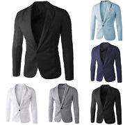 Mens Fashion Business Formal Blazer Coat Jacket Casual Slim One Button Suit Tops