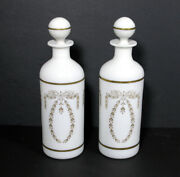 Portieux Vallerysthal 9 1/2 Decanter/bottle White Opaline Glass W/gold Wreath