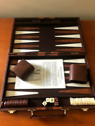 Vintage 1970s Cardinal Brown And White Bakelite Backgammon Set Faux Leather Case