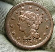 1850 Large Cent, Braided Hair Penny - Nice Coin, Free Shipping 276