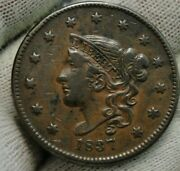 1837 Penny Coronet Large Cent 1c - Nice Coin, Free Shipping 349