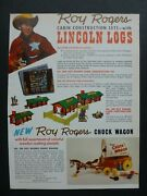 Rare Vtg 1959 Dealer Ad - Roy Rogers Lincoln Logs Cabin Set And Chuck Wagon Set