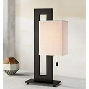 Floating Square Modern Accent Table Lamp Espresso Bronze Rectangular Oatmeal Box
