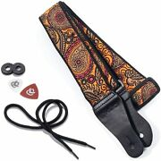 Vintage Woven Guitar Strap For Acoustic And Electric Guitars + 2 Free Rubber