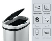 50l/13 Gal Stainless Touch Free Automatic Sensor Trash Can Office Kitchen