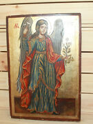 Vintage Religious Hand Painted Icon Archangel Gabriel