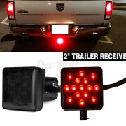 2and039and039 Trailer Hitch Receiver Cover With 15 Led Brake Leds Light Tube Cover W/ Pin
