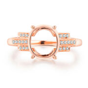 Oval 10x8mm Natural Diamond Semi Mount 18k Rose Gold Unique Engagement Fine Ring