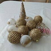 Lot Of 12 Gold Christmas Decorations Ornaments