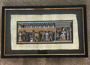 Framed Egyptian Hand Painted Painting On Real Papyrus Paper With Certificate