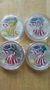 1999-2000 Painted Walking Liberty 1 Oz. Silver Dollar Set Of 4 Pcs, One Gold Col