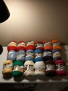 Large Lot 18 Lily Sugar 'n Cream Cotton Yarn Solid Colors 2.5 Oz Each