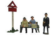 Vintage 5-piece Lead Figures - Bus Stop Scene - Made In England