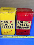 Lot Of 2 Vintage Advertising Tin Banks Eight O'clock And Red Circle Aandp Coffee