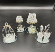 Lot Of 4 Blown Glass Spun Swan Figurines With Gold Accent Details Animal Figures