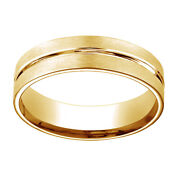 18k Yellow Gold 6mm Comfort Fit Polished Center Cut Carved Menand039s Band Ring Sz 9