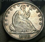 1880 Seated Liberty Half Dollar 50c - Rare Key Date, Only 9,755 Minted 375
