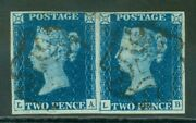 Sg 5 1840 2d Blue Plate 2 Horizontal Pair Lettered La-lb. Very Fine Used With...