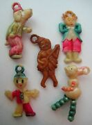 1940and039s Vtg Celluloid Figural People And Animal Charm Lot Cracker Jack Toy Prize