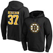 Boston Bruins Nhl Mens Iconic Name And Number Graphic Hoodie - Bergeron 37 - New
