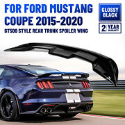 Fits 2015-2020 Ford Mustang Coupe Gt500 Style Trunk Spoiler Wing Gloss Black Abs