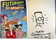 Signed Matt Groening Drawing Simpsons W/business Card Comic Con Book Psa Dna