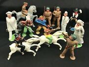Lot Of 12 Vintage Barclay Manoil Lead Figures Toy Soldiers, Nurse Indian Horse