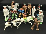Lot Of 12 Vintage Barclay Manoil Lead Figures Toy Soldiers Nurse Indian Horse