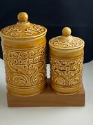 Vintage Royal Sealy Amber Gold Ceramic Coffee Tea Canister Set