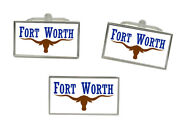 Fort Worth Tx Usa Flag Cufflink And Tie Pin Set