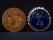 Alta Crest Farms 2 Vintage Milk Bottle Cap Advertising Dairy The Quality Goes In