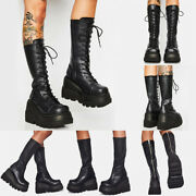 Womens Casual Mid Calf Boots Gothic Punk Lace Up Chunky High Heel Platform Shoes